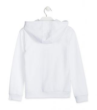 Chaqueta de felpa de color blanco.