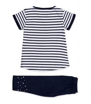 Jersey navy t-shirt and leggings set.