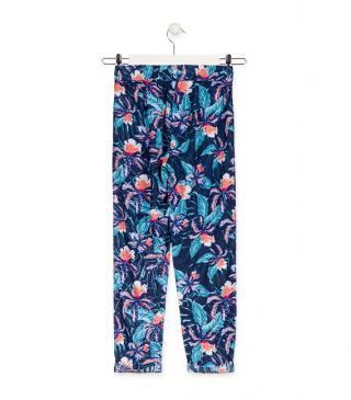 Floral crêpe trousers.