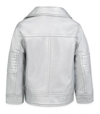 Silver faux-leather jacket.