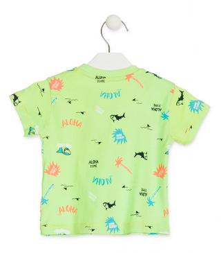 Camiseta de color verde con estampado playero.