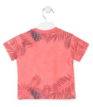 Camiseta con estampado tropical de color rojo.