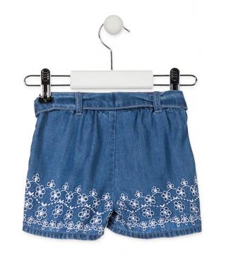 Short en tejido denim con bordado.
