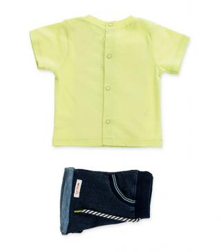Plush shorts & green t-shirt set.