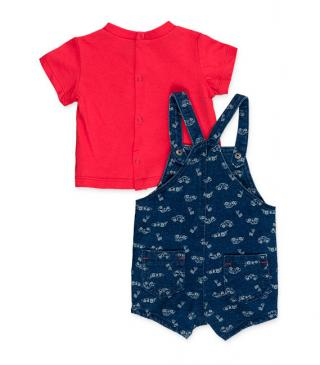 Denim effect plush dungaree & t-shirt set.