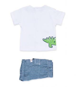Striped shorts & crocodile motif t-shirt set.