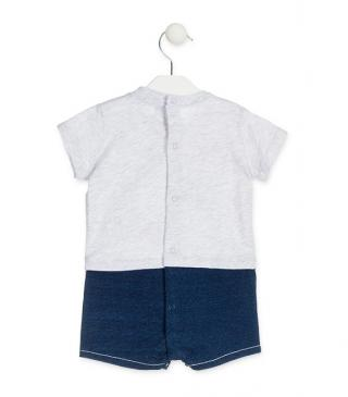Romper finished with denim-effect plush bottom.