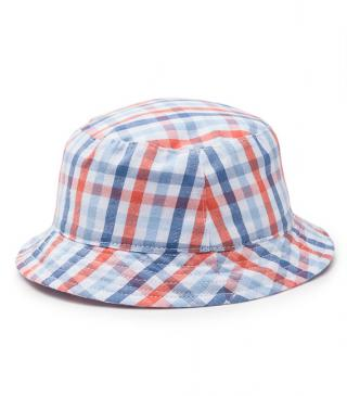 Checked poplin hat.