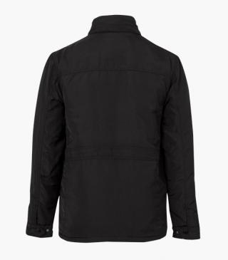 Jacket with a concealed hood at the collar.