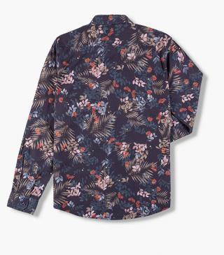 Blue shirt with a floral print.