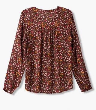 Burgundy shirt with floral print.