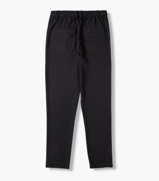 Trousers with an elastic insert at the back waist.
