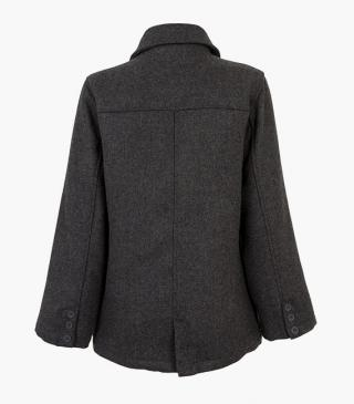 Grey woollen coat.