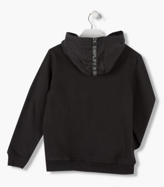 Insert front sweatshirt crafted from plush.