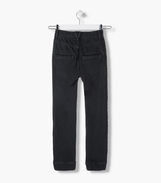 Side panel jersey trousers.