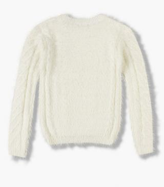 Chenille jumper with fluffy finish.