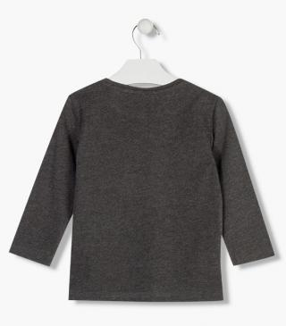 Grey t-shirt with graphic detail.