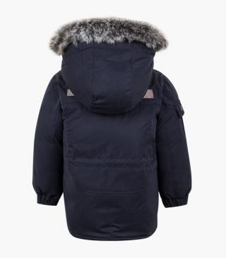 Hooded jacket with detachable faux-fur trim.