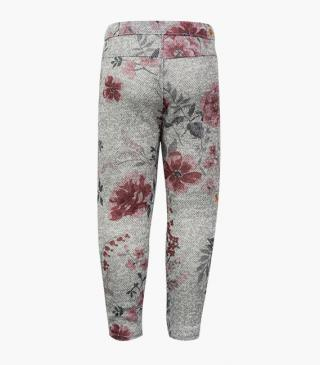 All-over floral print leggings in grey.
