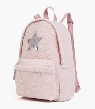 Two-faced sequin star backpack.