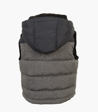 Vest with a hood.