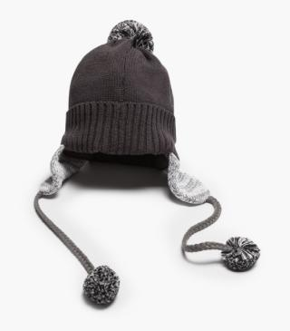 Knit hat with earmuffs.