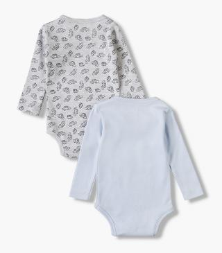 2-pack featuring cotton bodysuits with short sleeves.