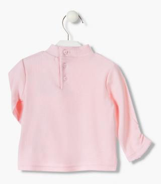 Rib knit t-shirt in pink.