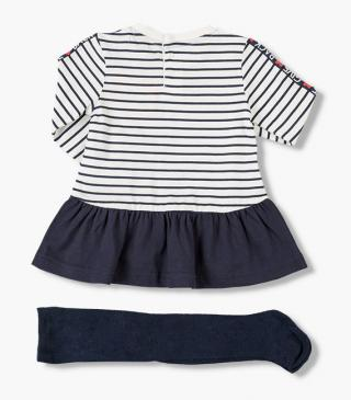 Long-sleeved striped dress & tights set.