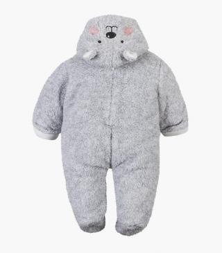 Fluffy onesie with embroidered details and bear appliqués.