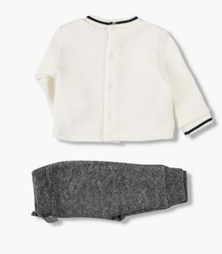 Brushed plush trousers & sweatshirt set.