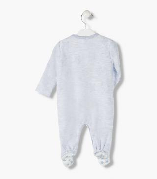 Cotton sleepsuit featuring starry jacquard.