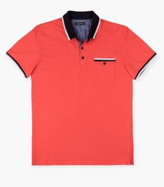 Polo shirt crafted from watermelon single jersey.