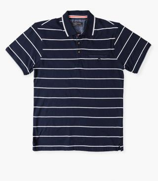 White and navy stripe polo.