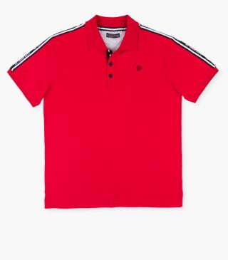 Red polo shirt with rubberised print chest.