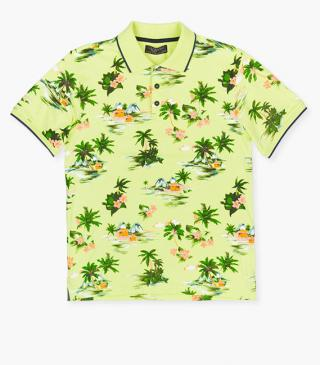 All-over print polo in lime green.