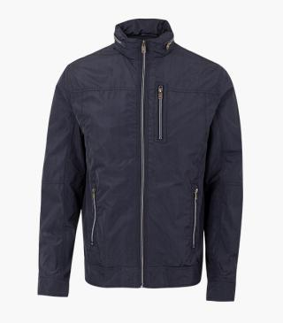 Navy jacket with hidden hood.