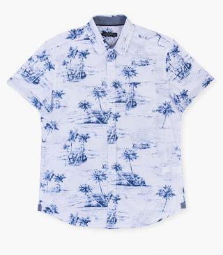 Blue palm tree print shirt.