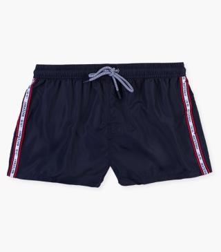 Side stripe swim trunks.