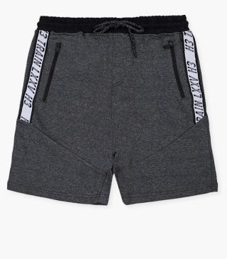 Unnapped plush shorts in tri-blend grey.