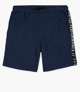 Tri-blend blue shorts with print at the back.