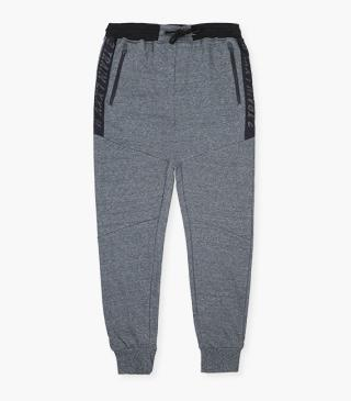 Tri-blend grey trousers with panels.