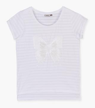 White t-shirt with sequin butterfly.