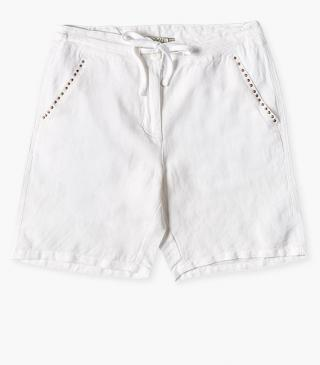 Linen shorts with studs.