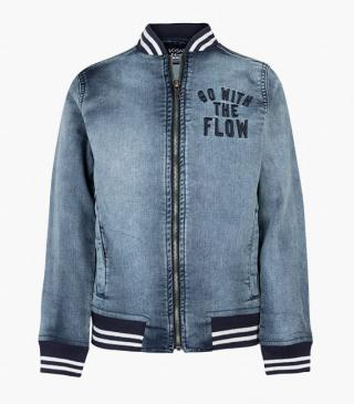 Plush-effect denim jacket with embroidery.