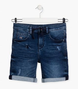 Plush roll-up shorts in denim.