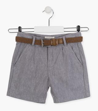 Tri-blend grey shorts with belt.