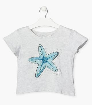 Short sleeve mermaid tail t-shirt.