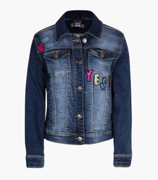 Denim jacket with sequin patches.