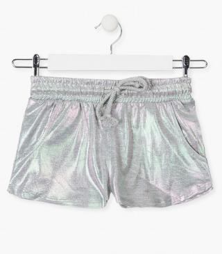 Sparkly knit shorts.